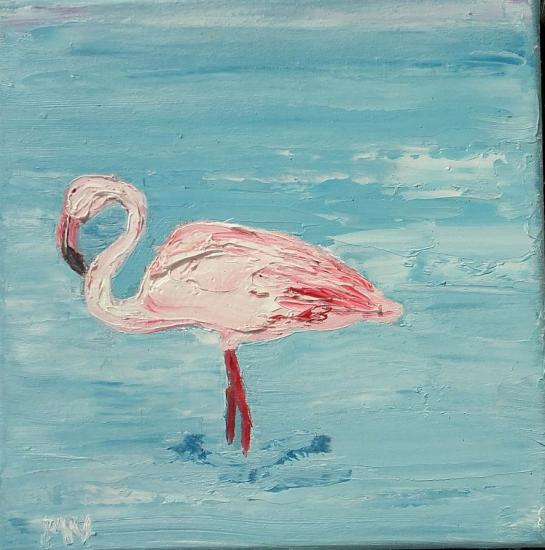 Flamant rose 20x20